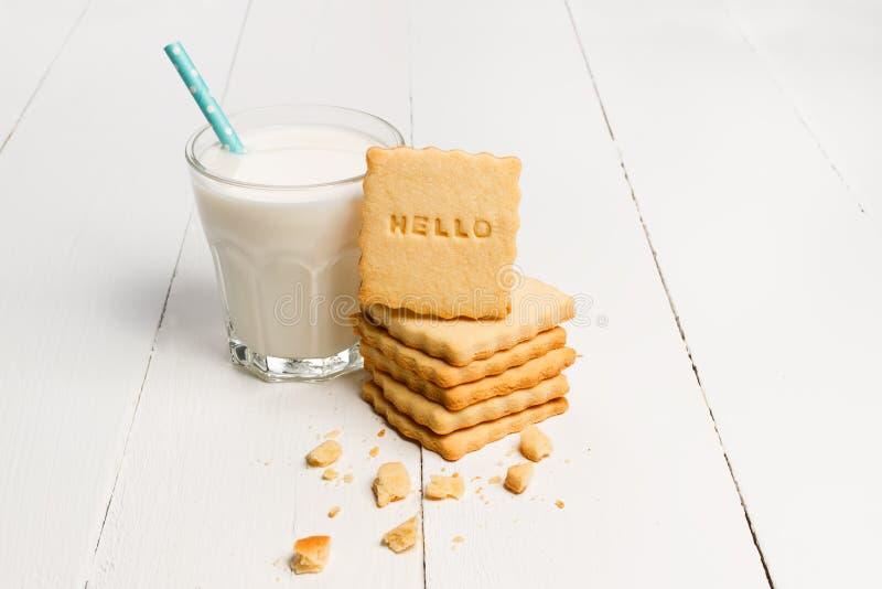 Biscuit avec BONJOUR le signe images libres de droits