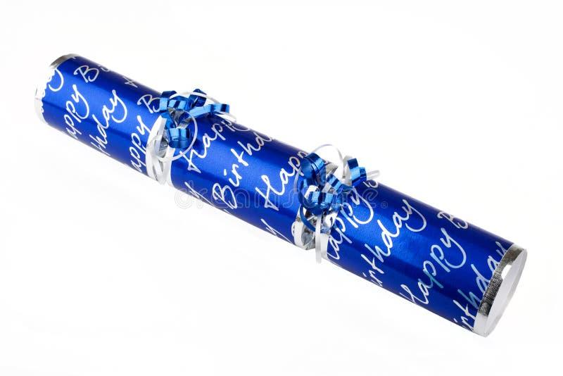 Biscuit bleu d'anniversaire photographie stock libre de droits