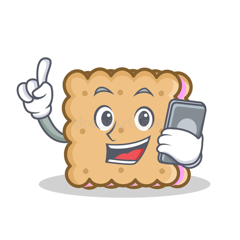 Biscuit cartoon character style with phone royalty free illustration