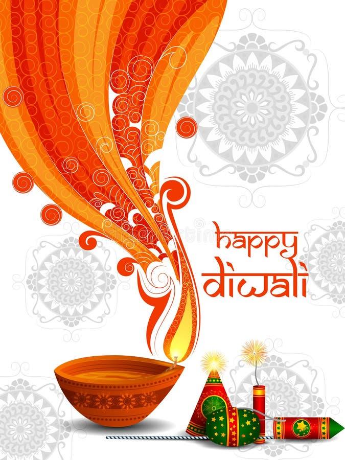 Biscuit coloré du feu avec le diya décoré pour la célébration heureuse de vacances de festival de Diwali du fond de salutation d' illustration de vecteur