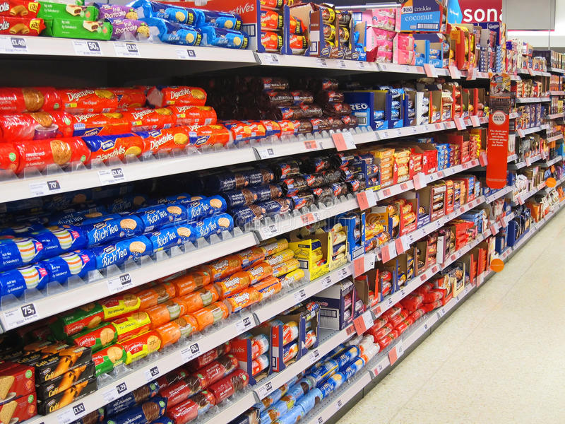 Biscuit or cookie aisle in a superstore. royalty free stock image