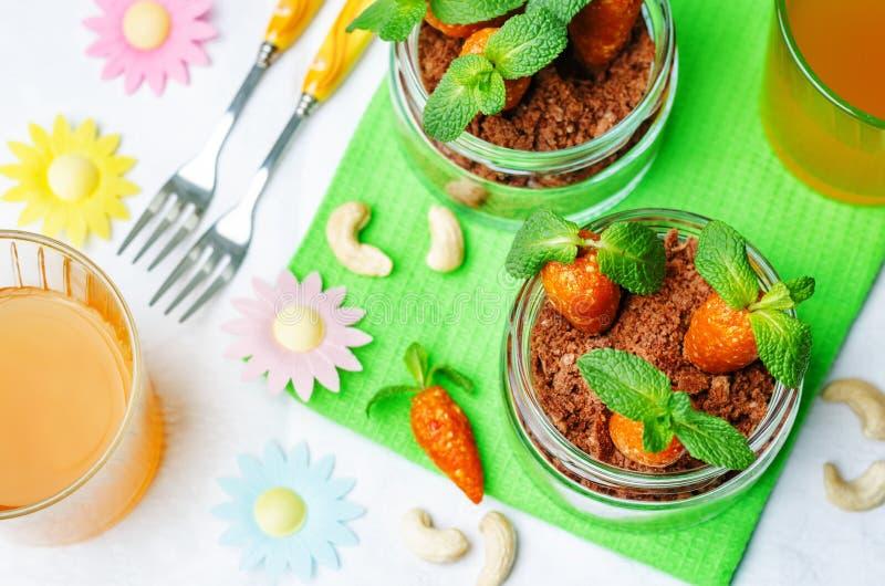 Biscuit de chocolat en sucreries d'un pot et d'anarcadier d'abricots secs dedans images libres de droits