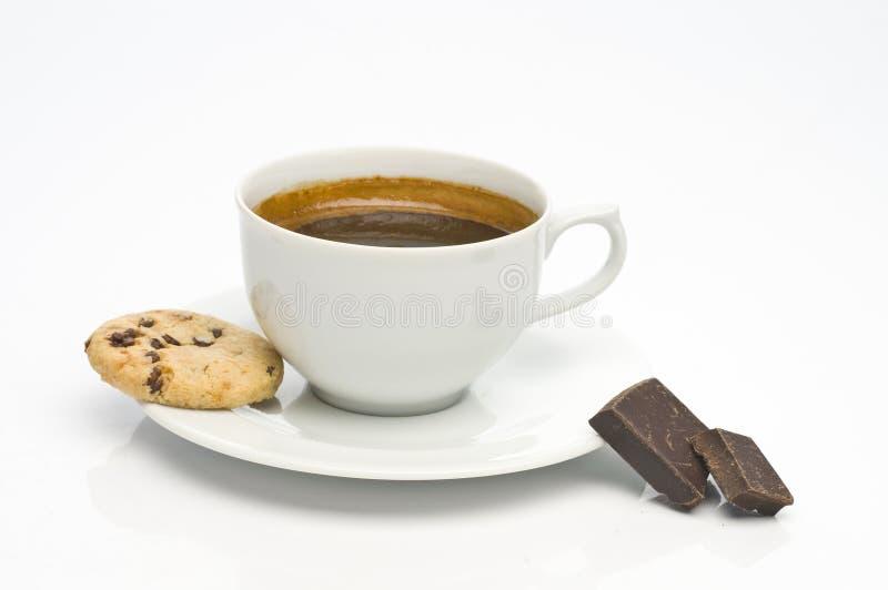 Biscuit de farine d'avoine, cuvette de café et chocolat photos stock