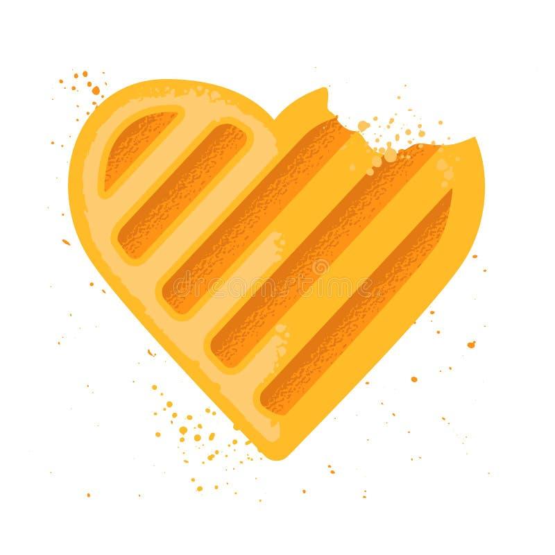 Biscuit de forme de coeur Biscuit mordu Graphisme de vecteur illustration libre de droits