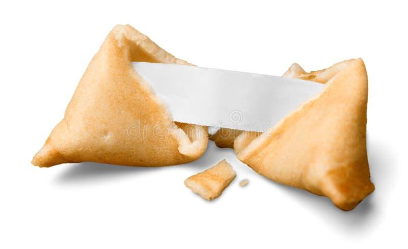 Biscuit de fortune cassé avec le morceau de papier vide photo libre de droits