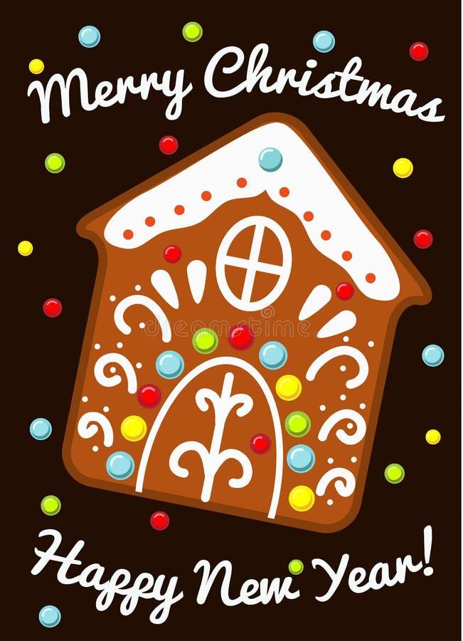 Biscuit de maison de pain d'épice de Noël Design de carte de salutation saisonnier dans le style de cru pendant des vacances de n illustration libre de droits