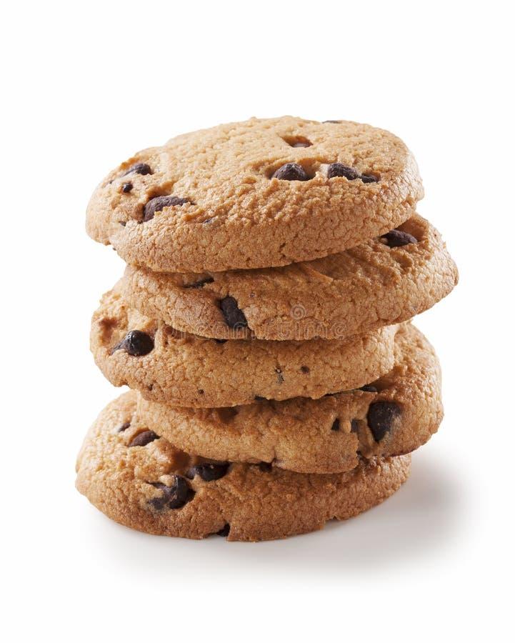 Biscuit de puce de chocolat sur le blanc photos libres de droits