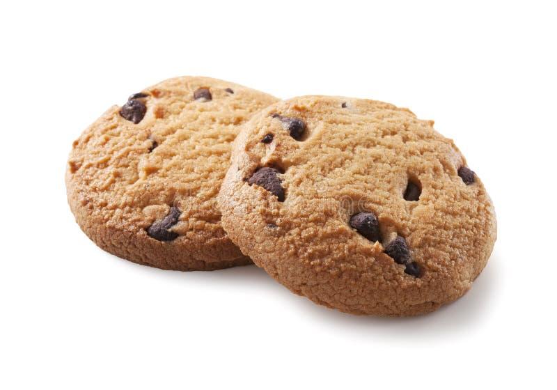 Biscuit de puce de chocolat sur le blanc images libres de droits
