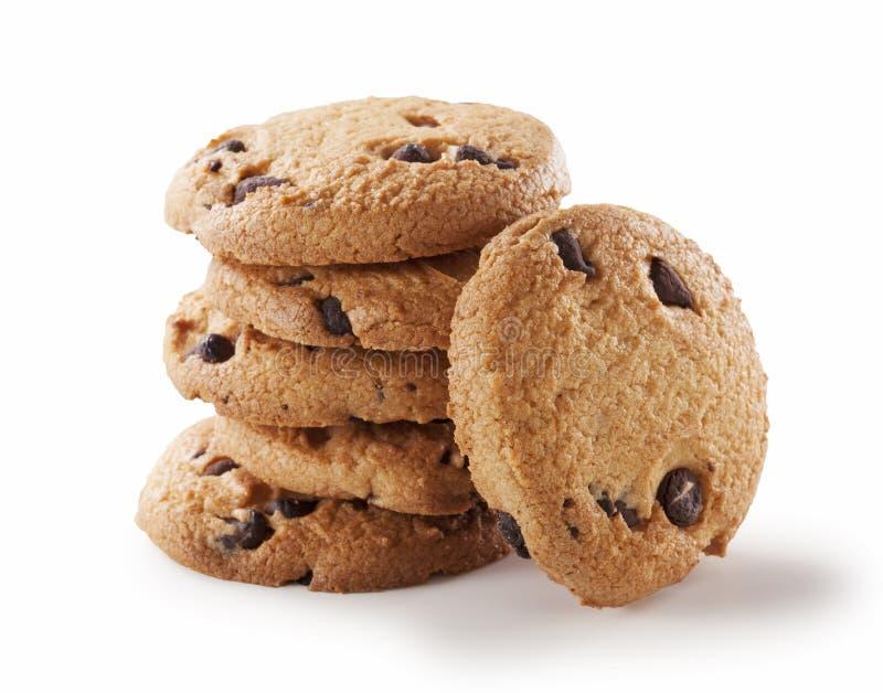 Biscuit de puce de chocolat sur le blanc photo libre de droits