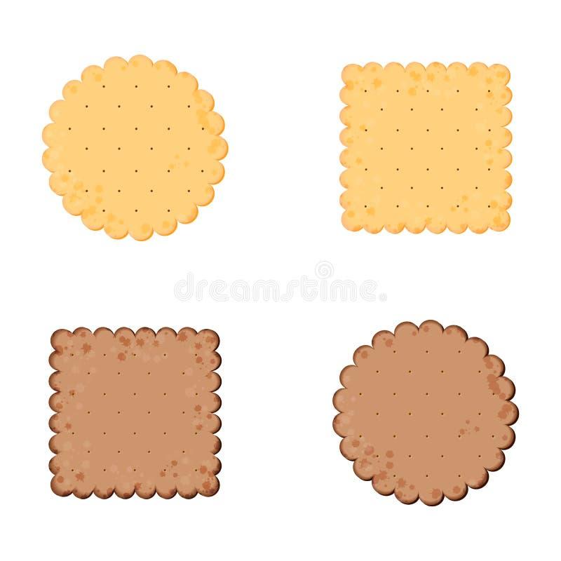 Biscuit de sant? Biscuit de chocolat Biscuit d'isolement : cercle, place Ic?ne dans le style plat illustration stock