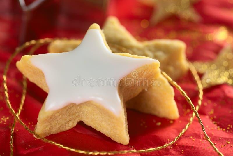 Biscuit en forme d'étoile avec le givrage de sucre image libre de droits