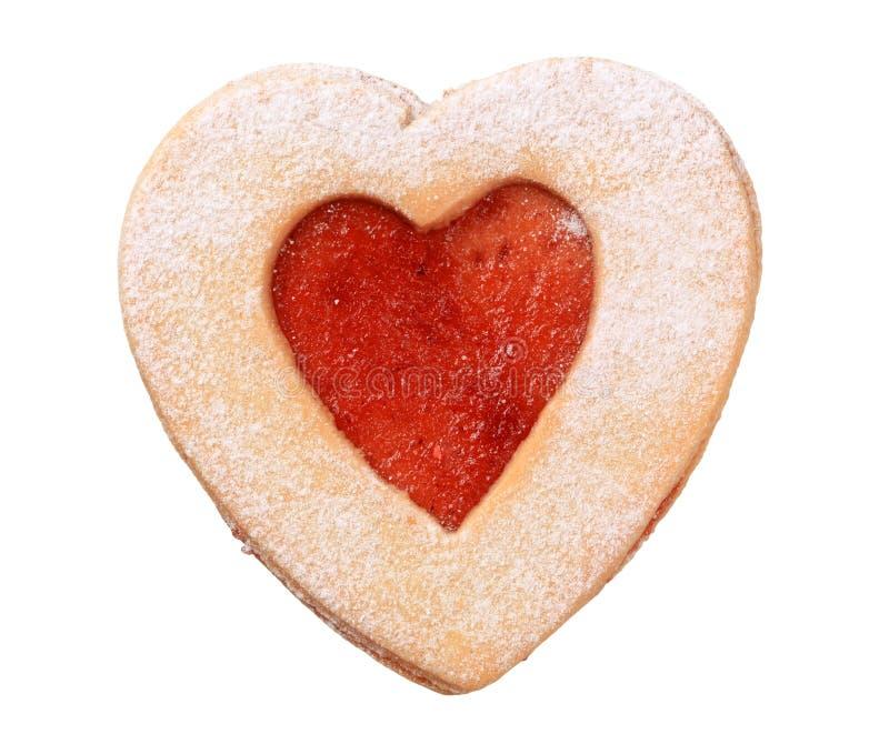 Biscuit en forme de coeur de Linzer image libre de droits