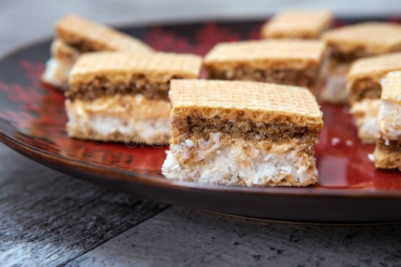 Biscuit fait avec du chocolat et la noix de coco images stock