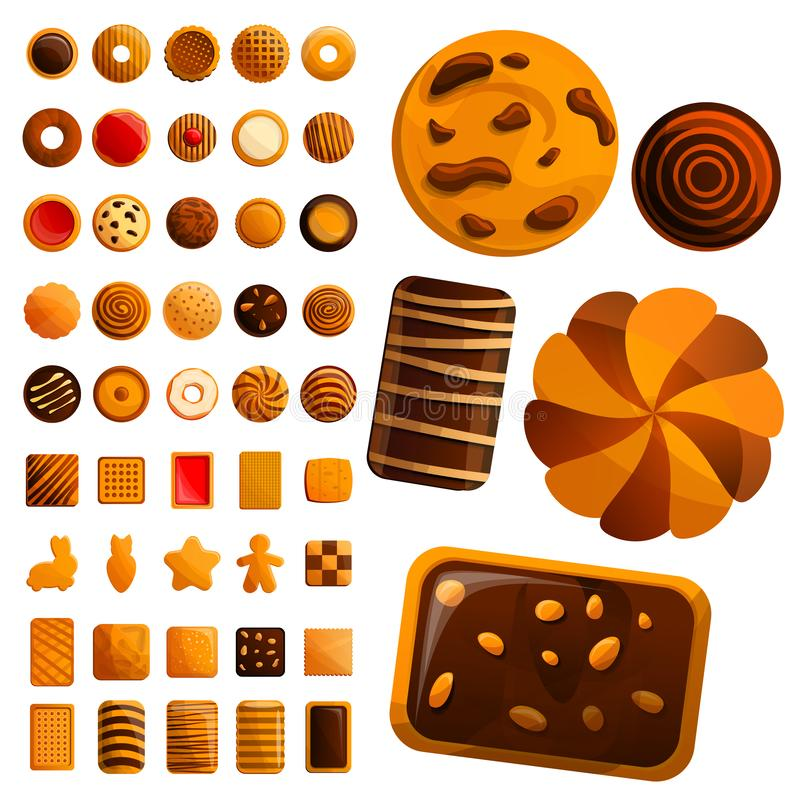 Biscuit icon set, cartoon style vector illustration