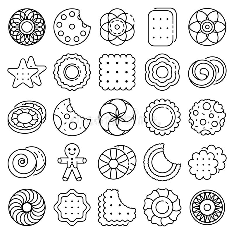Biscuit icon set, outline style royalty free illustration
