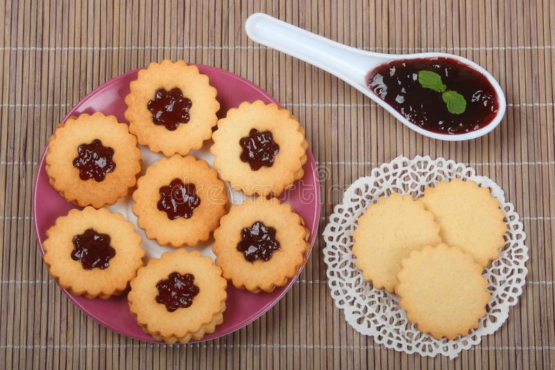 Biscuit with marmalade. Top view royalty free stock photo
