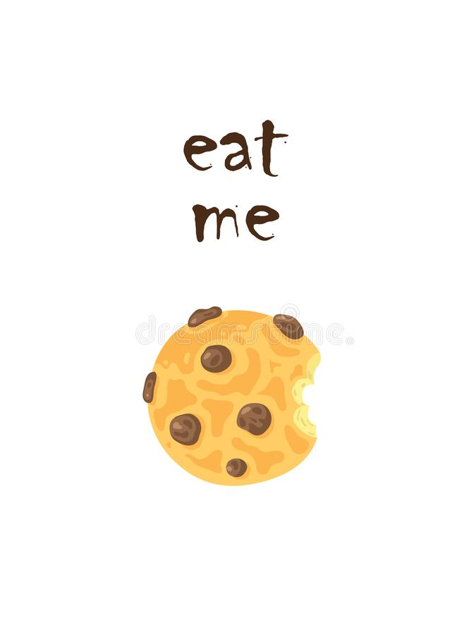 Biscuit with raisins illustration and inscription eat me. royalty free illustration