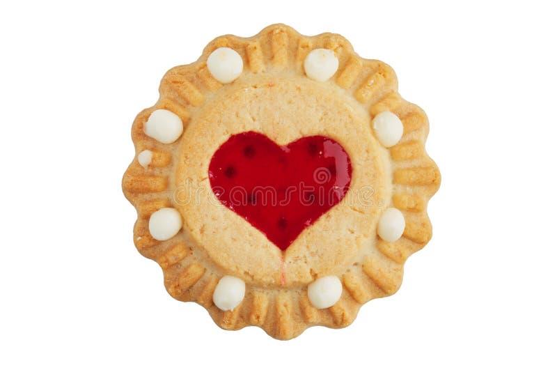 Biscuit rond avec un coeur de bourrage image libre de droits