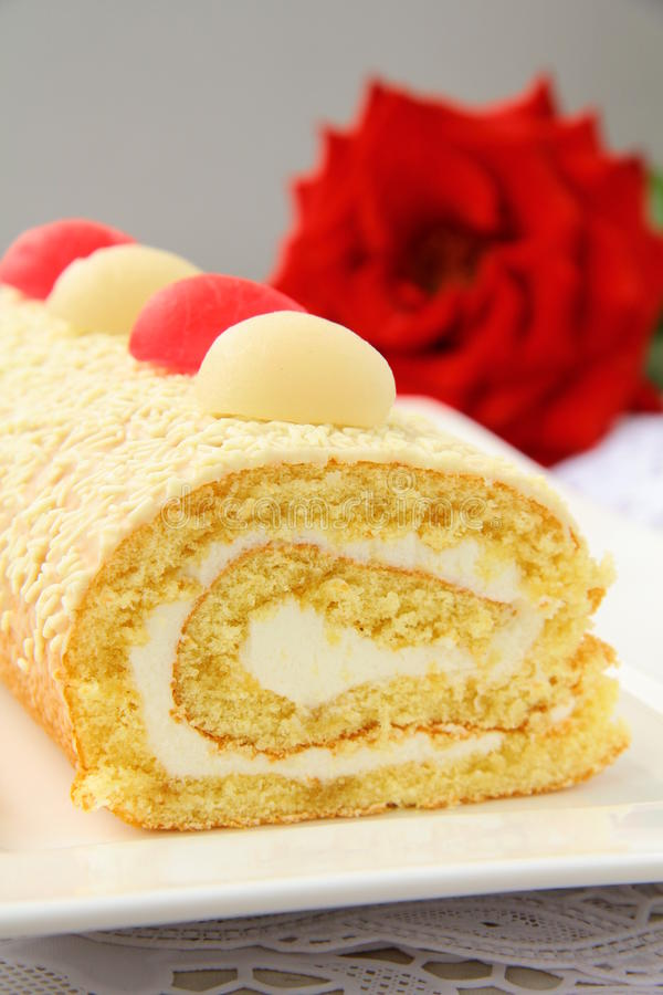 Download Biscuit roulade with cream stock photo. Image of ready - 19927554