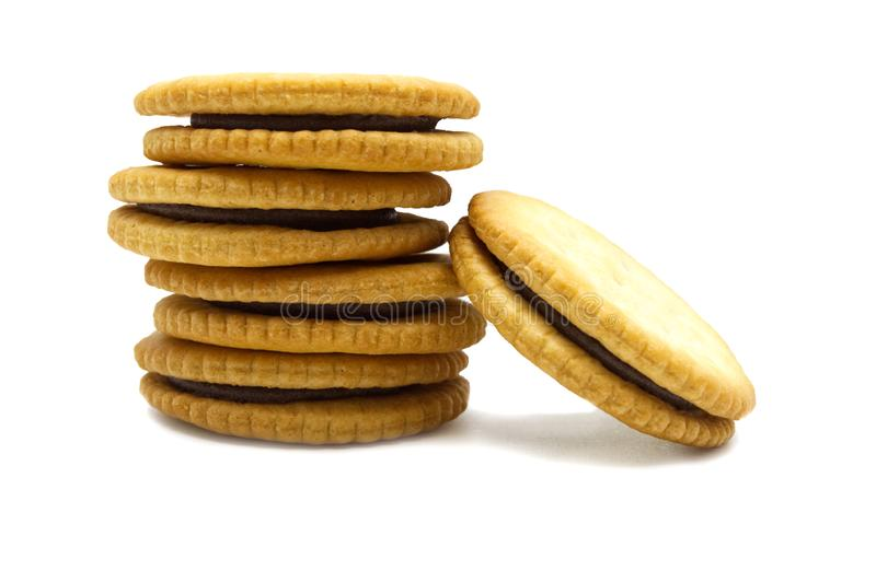 Biscuit sandwich crackers Chocolate flavoured ,Cream and butter. Stack of crunchy delicious sweet meal and useful cookies. stock image
