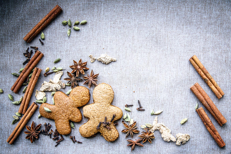 Biscuit star anise Cardamom nutmeg cinnamon ginger clove spice stock photos