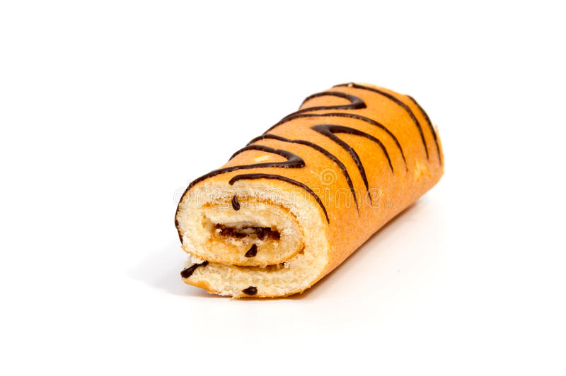 Biscuit Swiss roll on white royalty free stock photos
