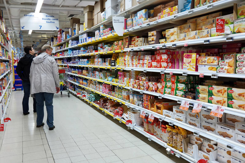 Biscuits aisle stock photography