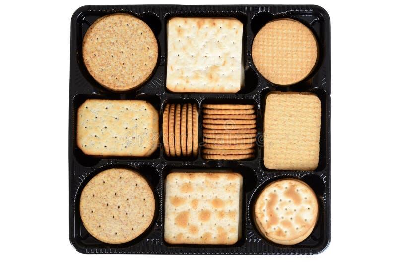 Biscuits assortis de boîte de vue supérieure photo libre de droits