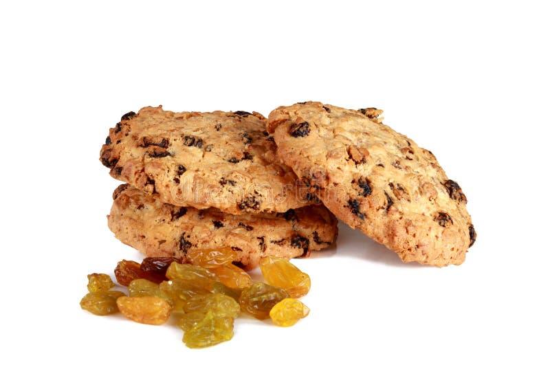 Biscuits avec des raisins secs d'isolement sur le fond blanc photo stock