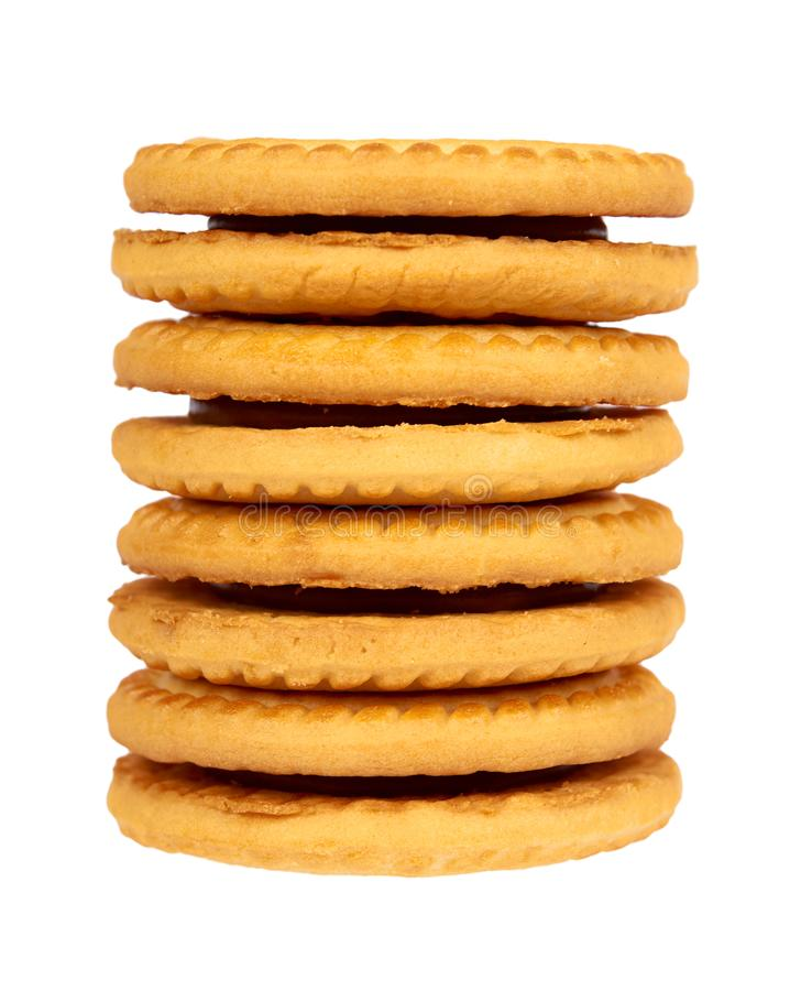 Biscuits avec le remplissage de crème d'isolement sur le fond blanc image libre de droits