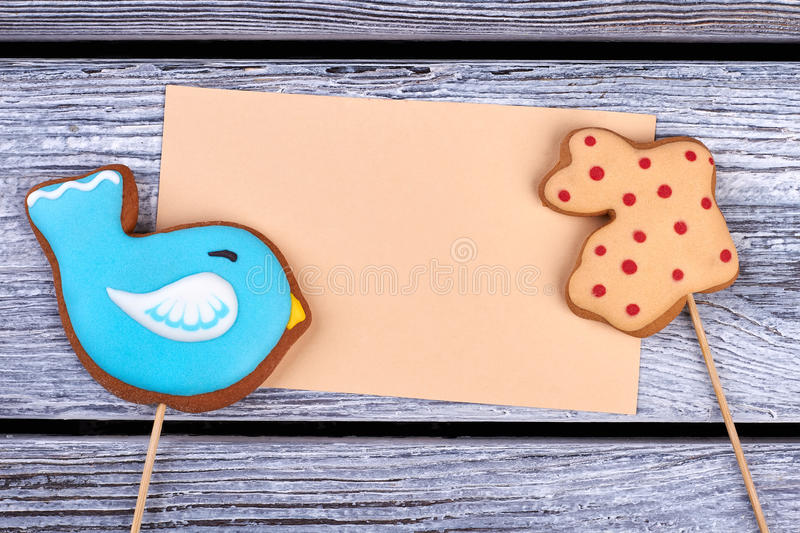 Biscuits and blank card. stock photography