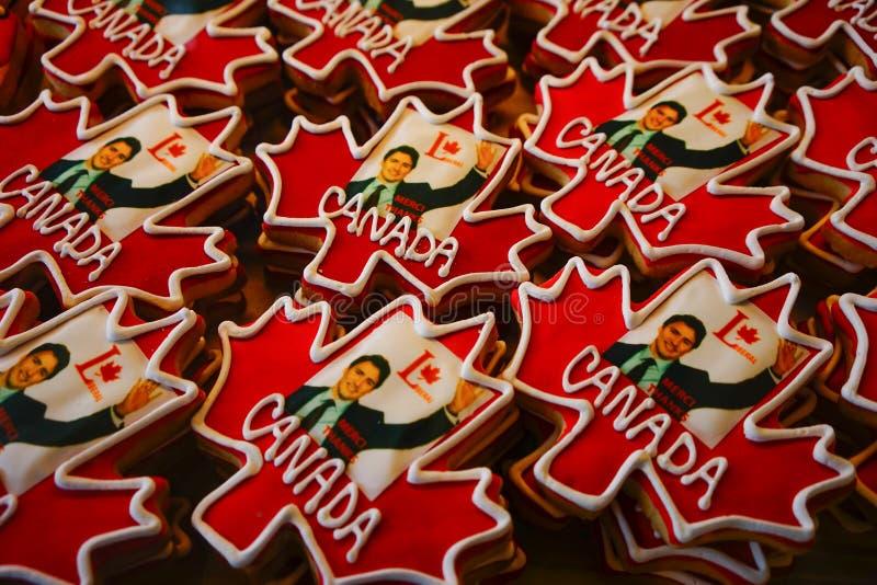 Biscuits canadiens de drapeau image stock