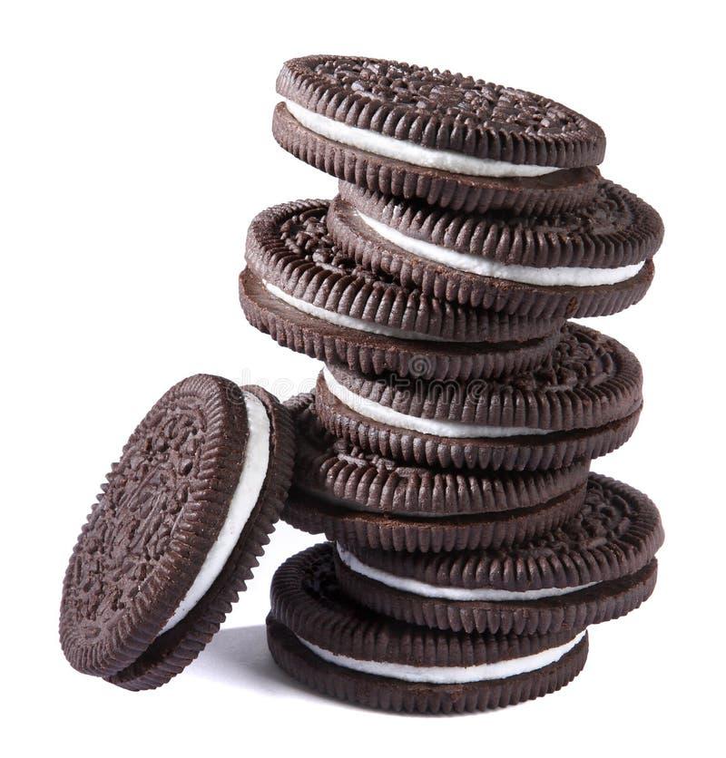 Biscuits crèmes de chocolat images libres de droits