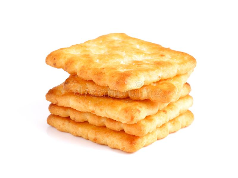 Biscuits crackers isolated on white background.  stock images