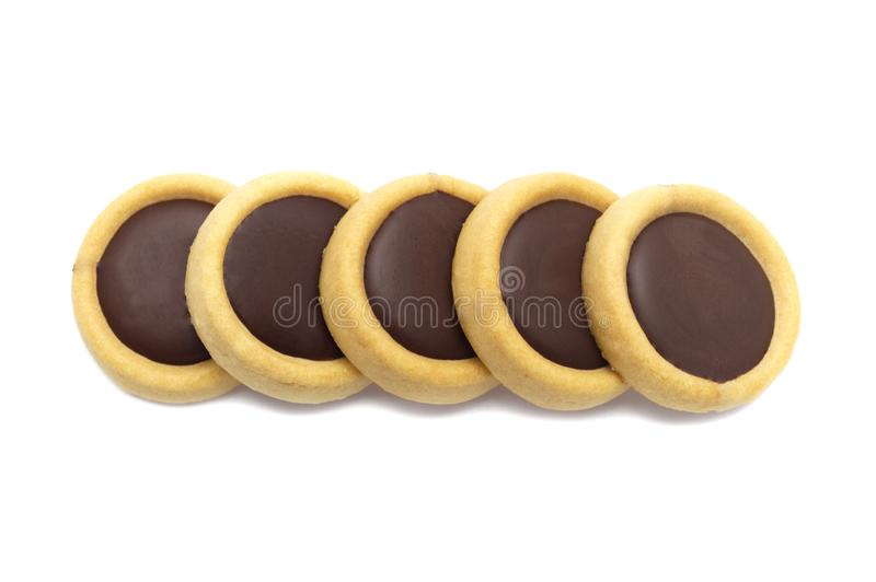 Biscuits crunchy cookies with caramel & chocolate flavoured topping choco plus. stock images