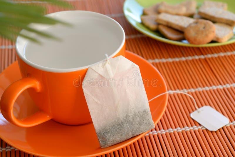Biscuits d'eau chaude de tasse de sachet à thé sur la plante verte de plat image stock