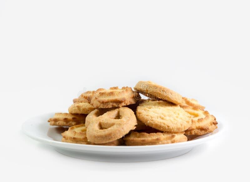 Biscuits de beurre danois d'isolement photographie stock libre de droits