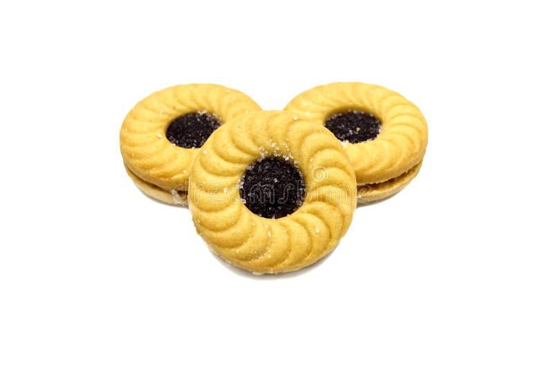 Biscuits de beurre de sandwich à biscuit avec de la crème et la confiture aromatisée par myrtille images libres de droits