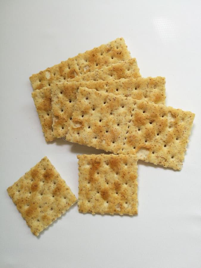 Biscuits de blé entier d'isolement image libre de droits