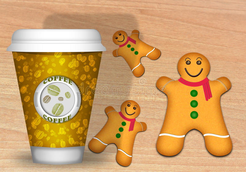 Biscuits de café et de pain d'épice illustration stock