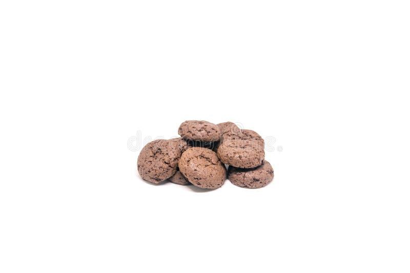 Biscuits de chocolat d'isolement sur le fond blanc photographie stock