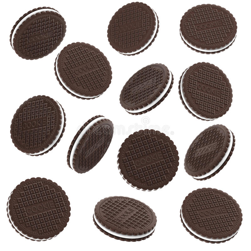 Biscuits de chocolat d'isolement sur le fond blanc illustration de vecteur