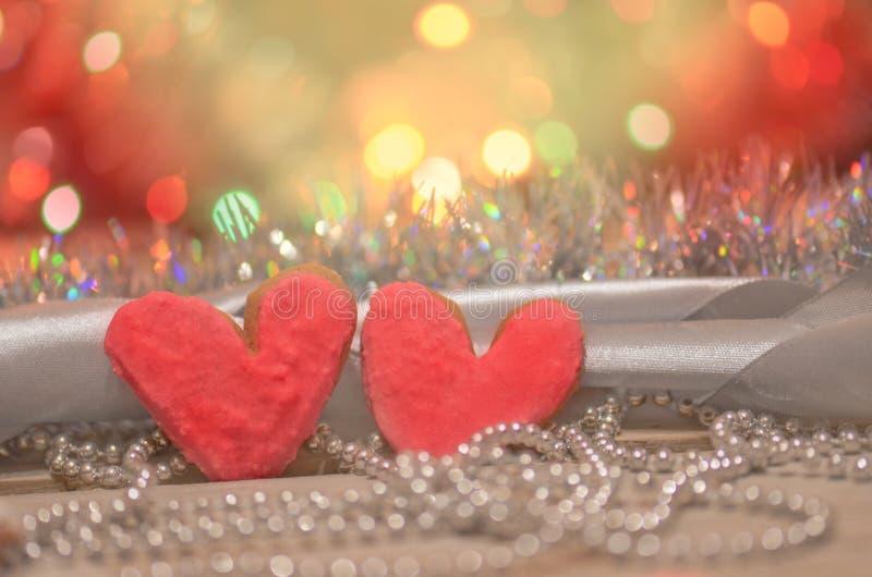 Biscuits de coeur de Valentine Fond de jour de valentines photos libres de droits