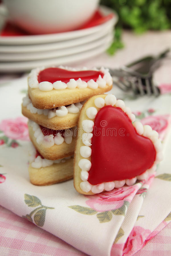 Biscuits de coeurs photos stock