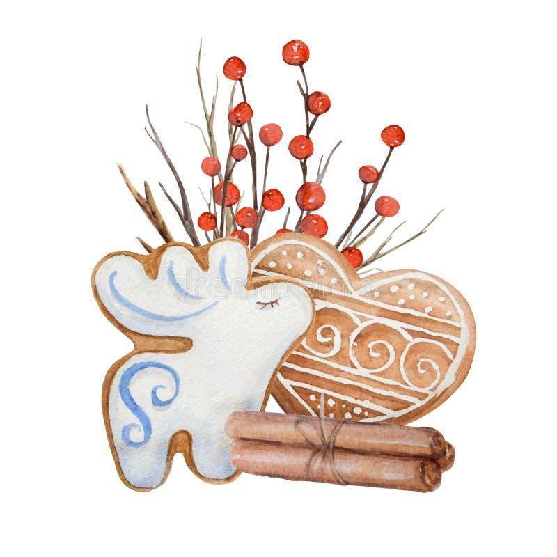 Biscuits de composition en Noël d'aquarelle illustration stock