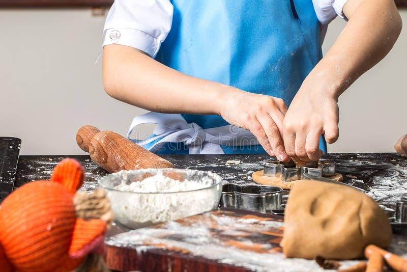 Biscuits de coupe de petite fille de pâte de pain d'épice images libres de droits