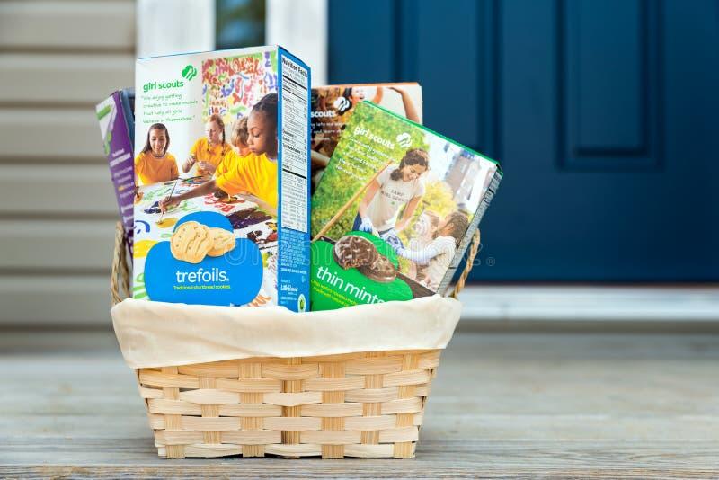 Biscuits de fille scout livrés photo stock