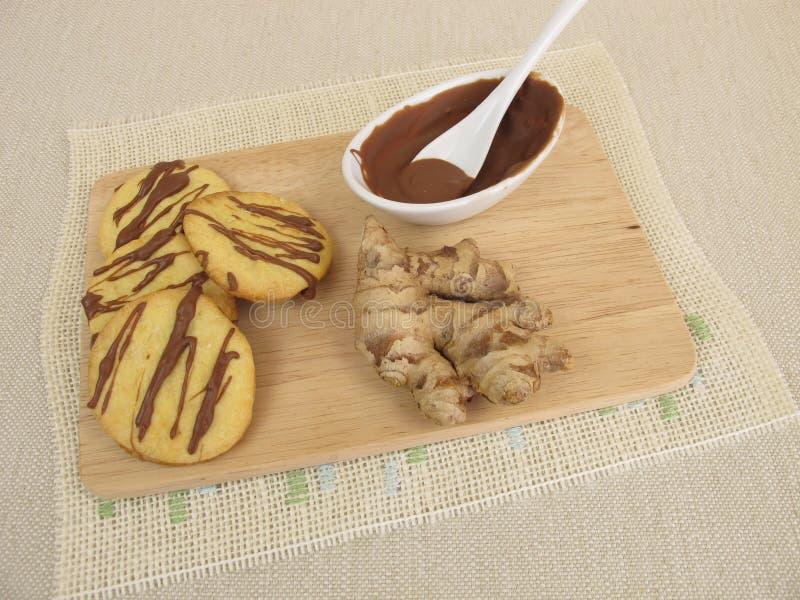Biscuits de gingembre avec du chocolat photo stock