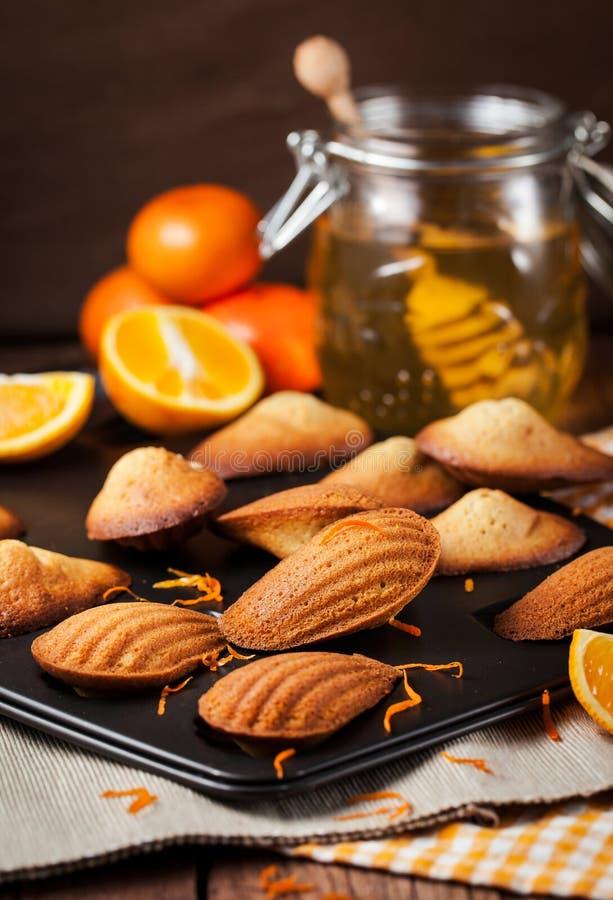 Biscuits de madeleines d'orange et de miel photographie stock libre de droits