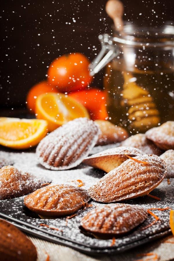 Biscuits de madeleines d'orange et de miel image libre de droits